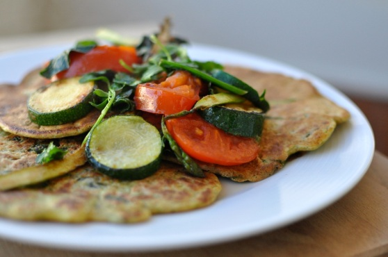 courgette pancake with grilled veggies