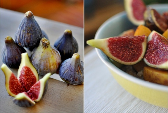 quinoa porridge with grilled figs and peaches