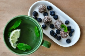 mint tea with coconut balls